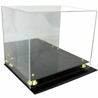 Full Size Football UV Pro Helmet Display Case with Mirrored Back and Gold Risers