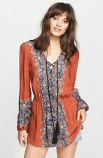 Free People Wildest Moment Renaissance Tunic Shirt Peasant Rust blue print Small