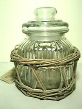 Glass Storage Jar Canister in Woven Basket Holder New Other Sizes Too