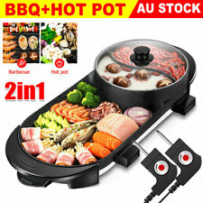 Electric 2 in 1 Hotpot BBQ Oven Smokeless Barbecue Pan Grill Hot Pot Machine AU