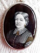Marie Puisoye 1855-1942-Peinture Miniature-Portrait femme-Email-Argent Massif