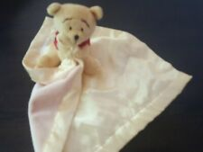 Disney Winnie the Pooh Yellow Soft Plush Baby Security Blanket Bear Lovey Satin