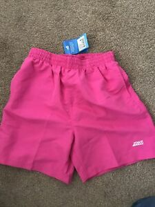 "Zoggs Boys Kids Penrith Swimming Pool Mesh 15"" Swimwear Swim Shorts Bottoms Pink"