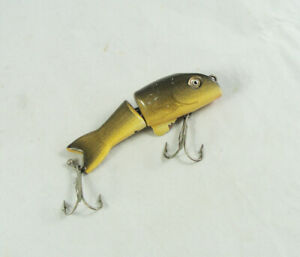 Old Vintage SHAKESPEARE STRIKE-IT Lure - Glass Eyes - Wood Body - Carved Tail