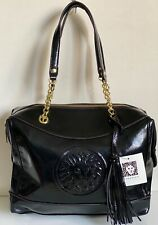 NEW ANNE KLEIN AK LEO LEGACY VI BLACK GOLD CHAIN SATCHEL TOTE BAG PURSE $89 SALE