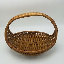 Basket Wicker Rattan Footed Bread Fixed Handle Brown Small Oblong Gathering