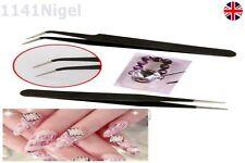 2 Gel acrylique Pince ramassant outil art ongles strass paillette noir