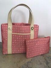 AUTH Bvlgari Bulgari logo Sophia Tote Bag Purse pink & ivory w/ pouch