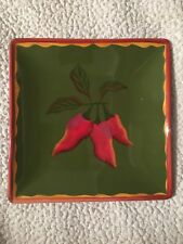 Clay Art Square Plate Serrano Chili Hand Painted 8-½ Inches
