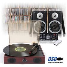 Mahogany LP Vinyl Record Player, Home Hi-Fi Stereo Speakers & Amplifier USB/FM