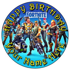 """FORTNITE FUN PARTY - 7.5"""" PERSONALISED ROUND EDIBLE ICING CAKE TOPPER (2)"""