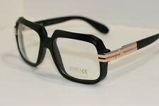 Gloss Black Gold Retro Nerd Sun-Glasses Rapper DJ square clear lens