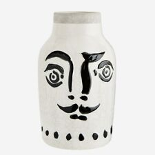 Large Black & White Face Vase, Stoneware Vase, Dali Vase, Painted Face on Pot