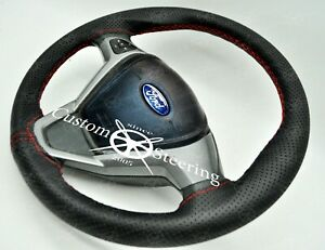 RED STITCH Perforated Leather Steering  Wheel Cover For FORD FIESTA MK7 09-17