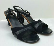 Vintage 70s Miramonte Black Suede Peep Toe Sandals Heels Made in Italy Size 9