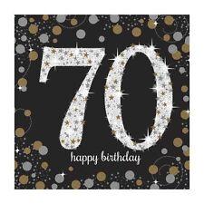 16X Negro 70 AÑOS Servilletas Oro Plata 70th Cumpleaños Vajilla