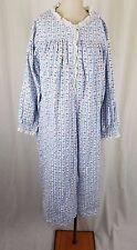 Vintage Lanz of Salzburg Flannel Nightgown Nightie M Pajamas Gown Long Maxi Blue