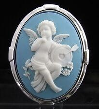 Silver Plated Cherub Cameo Brooch Pin