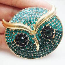Gold Tone Owl Bird Green Austrian Crystal Art Nouveau Pendant Brooch Pin