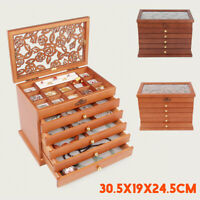 New 6 Layer Wooden Storage Necklace Organiser Jewelry Box Display Case Xmas Gift