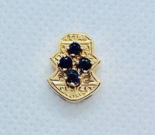 14K yellow Gold & Sapphire Solid Backed Bracelet Slide / 2.71 grams