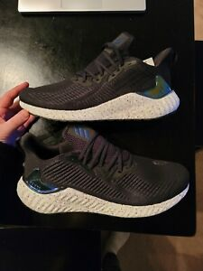 Adidas Alphaboost Size 13 Running Training Boost Shoes Black Iridescent NEW