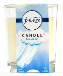 1 Count Febreze 6.3 Oz Linen & Sky Eliminates Odors & Freshens 2 Wick Candle