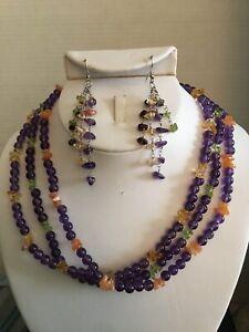Necklace/Bracelet/Earrings-Amethyst, Citrine, Peridot & Carnelian