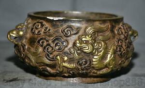 7 pouces vieux violet chinois palais de cuivre poignée Dragon Dragon Ear Censer