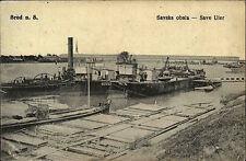 BROD n.S. Savska obala - Save Ufer Schiffe legen an AK Vintage Postcard 1918