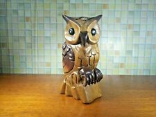 Thai Wooden Owl Wood Carved Statue Figurine Handmade Collectible Home Decor  #2