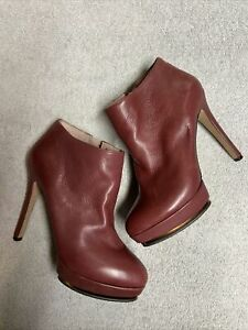 Vince Camuto Womens Salmon Pink Leather Zip Side Stilleto Booties Heels Size 5.5