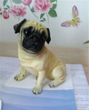 Hand Painted Resin Figurine Pug Statue Lifelike Dog Home Furnishing 6 Inches Toy