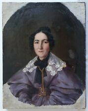 Léon FLEURY (1804-1858) huile sur toile portrait femme 1834 19ème