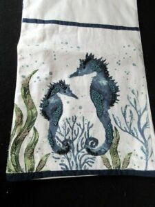 "NWT Pier 1 Imports 72"" Beaded Seahorse Table Runner Sea Life Beach Nautical"