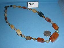 "Agate Bead Necklace Multicolor w/ Metal Bead Separators & Clasp 23"" EUC #G01"