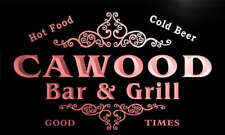 u07474-r CAWOOD Family Name Bar & Grill Cold Beer Neon Light Sign