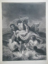 Original c1880 Antiquarian Engraving - Death of Prince William, Son of Henry I