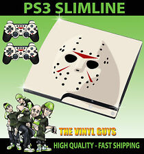 PLAYSTATION PS3 SLIM JASON VOORHEES MASK CLEAN HORROR GRIM SKIN & 2 PAD SKINS