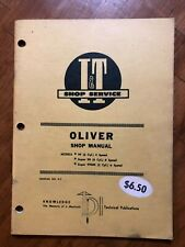 I & T Oliver Models 99 Super 99 Super 99GM Shop Manual