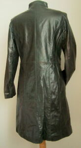 LADIES' DARK GREEN GLAZED GENUINE LEATHER COAT, SIZE S #3144