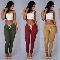 Sweatpants Pants Cargo High Plus Womens Size Waist Trousers Skinny Pocket Jogger