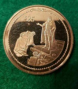 BRITISH VIRGIN ISLANDS 25$ 1992 500TH ANN. 925 SILVER COIN COLUMBUS BOWING