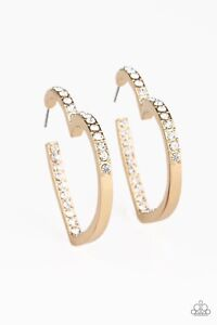 "Paparazzi ""Heartbreaker"" GOLD /White Rhinestone Heart Post Hoop Earrings"