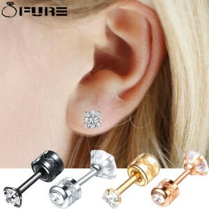 Pair of Round Stud Earrings Hypoallergenic Surgical Steel Backscrews Piercing