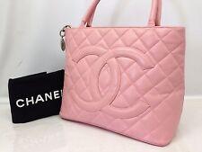Auth Chanel Medallion Shoulder Tote Bag Handbag Lambskin Leather Pink 6E110730N