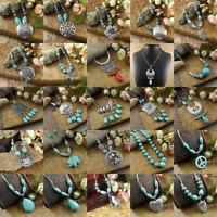 Retro Women's Tibetan Silver Zinc Alloy Turquoise Beads Pendant Necklace Jewelry