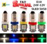 UPTO 10X E10 SMD 5050 5 LED Bulbs Mes Screw Torch Headlamps Dashboard Light 12V