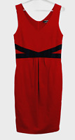 Basque Womens Red with Black Bow Sleeveless Dress Size 10
