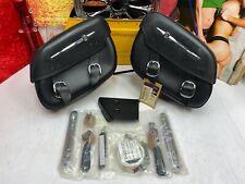 🔥Genuine Harley 00-17 Softail Detachable Leather Saddlebags Black OEM🔥